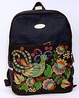Джинсовый рюкзак синяя птица на черном