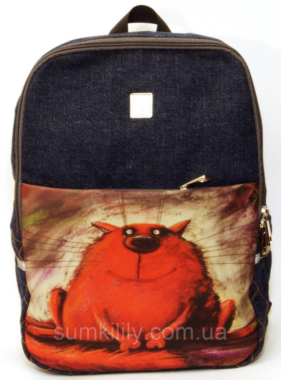 Джинсовый рюкзак красный кот