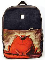 Джинсовый рюкзак красный кот, фото 1