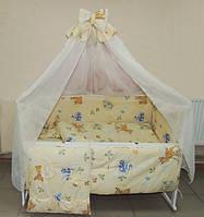 Красивый балдахин с опорой для детской кроватки. Шифон
