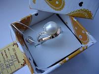 Женское серебряное кольцо арт.053 с напайками золота 375 и  жемчугом