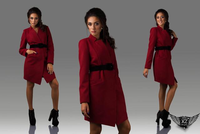 Пальто женское кашемировое короткое с пояском черное, серое, темное, светлое,