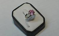 Кольцо серебряное с круглым фианитом