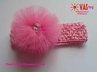 Повязка с фатина розовая с камнем Сваровски