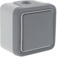 Выключатель, проходной выключатель, 1-клавишный, в сборе, серый - Legrand Plexo IP 55 – IK 07