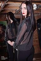 Блуза женская, черная в белый горошек, мультисезон Bl-CLAVDIA