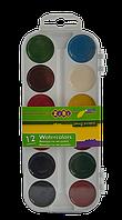 Краски аквар. 12 цв.,  пласт./кор., б/п., белый ZB6521