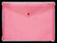 Папка-конверт А4 на кнопке JOBMAX, прозр, красный BM3927-05
