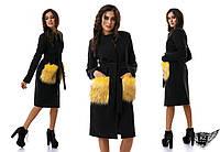 Пальто кашемировое с меховыми карманами миди средней длины , черное, бежевое