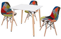 Стол обеденный Nolan II DT-9017 квадратный белый, деревянные ножки, копия Mario Cellini Halo DiningTable