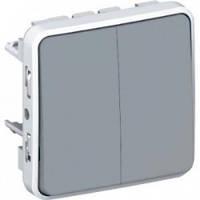 Выключатель, проходной выключатель, 2-клавишный, серый - Legrand Plexo IP55–IK07