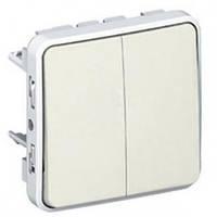 Выключатель, проходной выключатель, 2-клавишный, белый - Legrand Plexo IP55–IK07