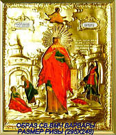 Икона в серебряной ризе Святая Варвара
