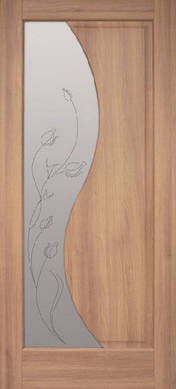 Двери межкомнатные ПВХ Эльза стекло с рисунком