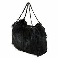 Меховая женская сумка ТМ DSN 3791 ЭкоКожа (черная)