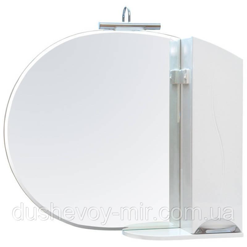 """Зеркало """"Глория"""" 95 см с подсветкой и пеналом слева/справа"""
