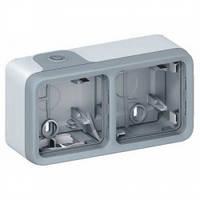 Двухместная коробка для накладного монтажа, горизонтальная, серый - Legrand Plexo IP55–IK07