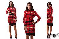 Женский костюм в клеточку  короткий  с юбкой , темный, красный,