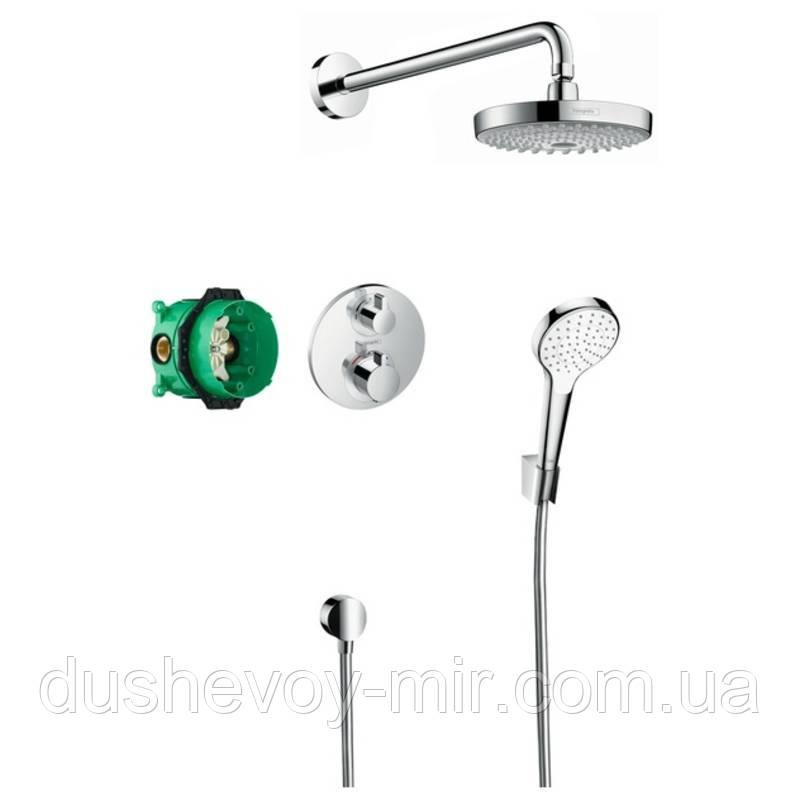 HANSGROHE ShowerSet Croma Select S/Ecostat S Душевой набор (верхний, ручной душ, ibox, термостат) 27295000