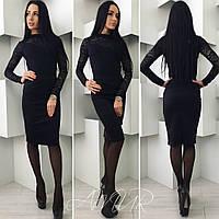 Женский черный костюм с юбкой, кофточка с дорогим гипюром. Арт-9990/82
