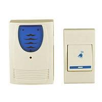 Звонок электрический с кнопкой 9802 AC, пластик, громкий звук, выбор мелодии, радиус до 100 м