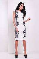 Белое летнее платье по фигуре без рукава с черными розами Розы-кружево сукня Леричи б/р