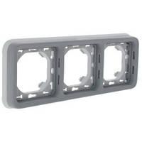 Трехместный суппорт с рамкой для встроенного монтажа, горизонтальный, серый - Legrand Plexo IP55–IK07