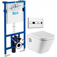 ROCA Комплект:PRO инсталляция для унитаза, PRO кнопка, GAP подвесной унитаз,сиденье твердое slow-closing A34478000+A890096001+A89