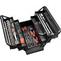YATO Ящик розкладний металевий з інструментами- 63 шт, 475х230х365 мм
