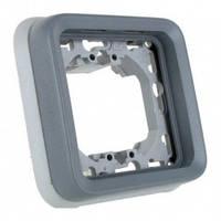 Одноместный суппорт с рамкой для встроенного монтажа, серый - Legrand Plexo IP55–IK07