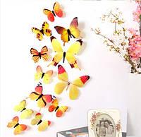 """Наклейки бабочки пластиковые на стену """"12 шт. 3D метелики"""""""