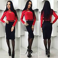 Стильный костюм с красной блузкой и черной юбкой, поясок в тон с блузкой.  Арт-9991/82
