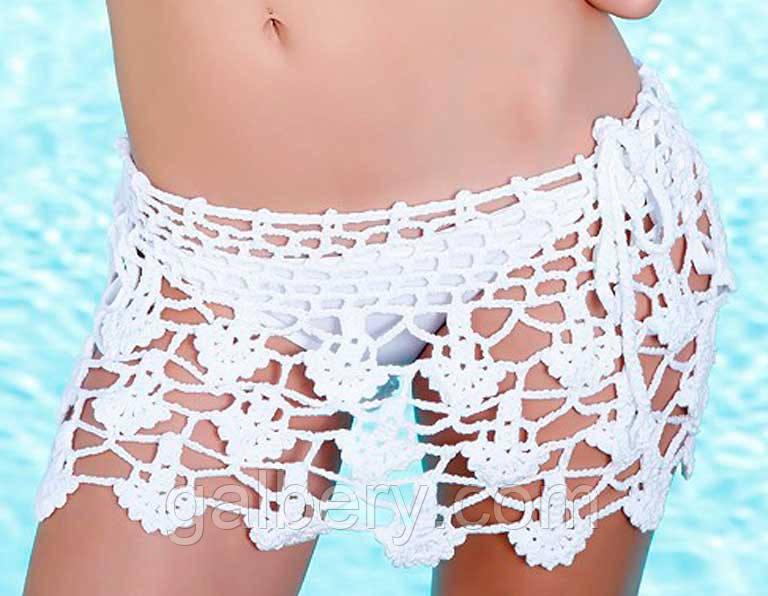 31c6f12ce7a91 Белая вязаная крючком пляжная юбочка - Интернет-магазин