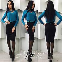 Стильный костюм с бирюзовой  блузкой и черной юбкой, поясок в тон с блузкой.  Арт-9991/82