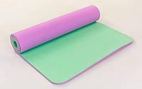 Коврик для фитнеса Yoga mat 2-х слойный фиолетово-мятный TPE+TC 6 мм FI-5172-10. Распродажа!