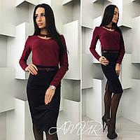 Стильный костюм с бордовой  блузкой и черной юбкой, поясок в тон с блузкой.  Арт-9991/82