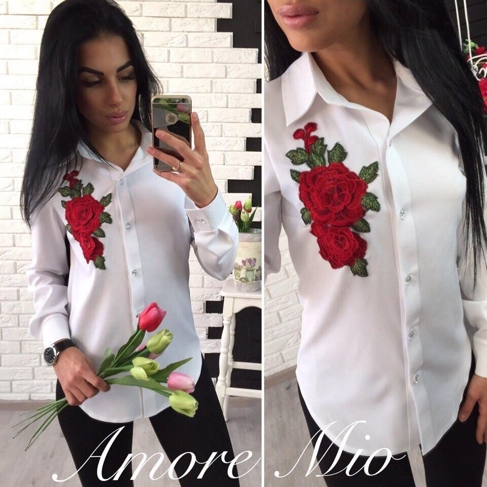 d7fa7bcbba7 Рубашка женская с вышивкой длинный рукав креп-костюмка 2 цвета RL58 ...