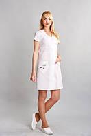 Білий   жіночий  медичний   халат  - Роксолана   (х/б)