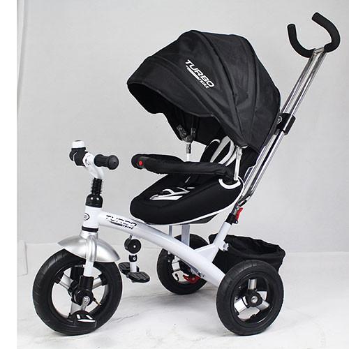 Трехколесный велосипед-коляска М 3195 черный, надувные колеса (12/10), тормоз, фиксатор педалей, подшипники