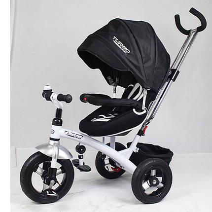 Трехколесный велосипед-коляска М 3195 черный, надувные колеса (12/10), тормоз, фиксатор педалей, подшипники, фото 2