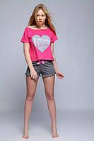 Женский костюм для дома и сна. Розовая футболка, серые шорты Pizama Sanne Sensis