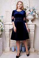 Платье из велюра с кружевом Делиция 50,52,54,56р, фото 1