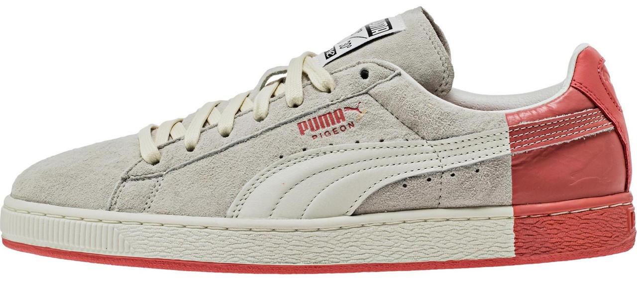 Женские кроссовки Staple x Puma Suede Pigeon Star White Georgia Peach Grey/Red 361617 03, Пума Сьюд