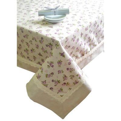 "Скатертина  ""lilac Rose"" с кантом и кружевом 140х140 см"