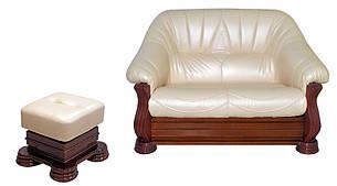 Кожаная мебель Монарх: раскладной 2х-местный диван и пуф, фото 2