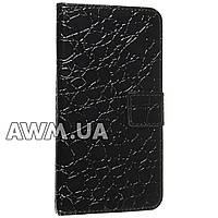 Чехол книжка для Samsung Galaxy S6 черный лак