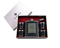 Подарочный набор фляга, 4 стопки, лейка (кожа с набойкой)