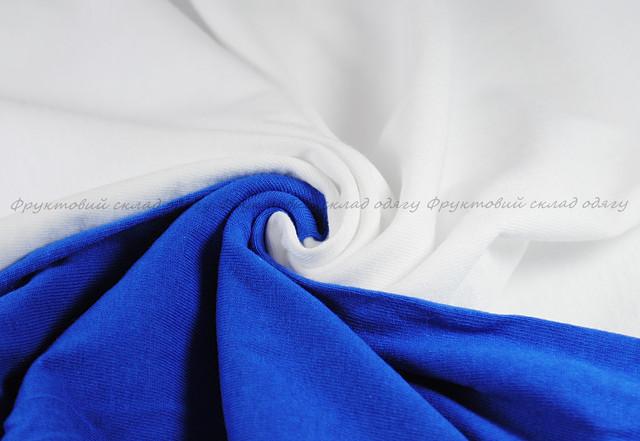 Мужская футболка с цветными рукавами Белый/Ярко-Синий
