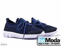 Модные женские кроссовки  Violeta D.blue из текстиля на оригинальной подошве синие