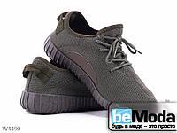 Комфортные мужские кроссовки Violeta Khaki из оригинального текстиля на цветной подошве хаки